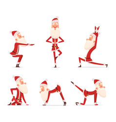 santa yoga poses christmas winter holiday sport vector image