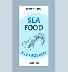 seafood menu with linear silhouette shrimp vector image