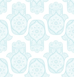 Seamless pattern with Indian hamsa vector image