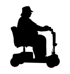 Senior woman on electric wheelchair silhouette vector