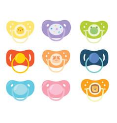 Set children s pacifiers baby care equipment vector
