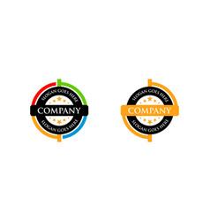 set circle badge logo vector image