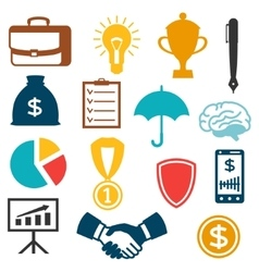 Set of business and finance flat icons vector