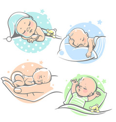 set with cute little baby sleeping vector image