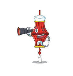 Smiling happy sailor with binocular chinese paper vector