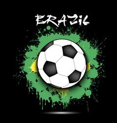 soccer ball and brazil flag vector image