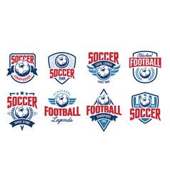 soccer classic emblems set vector image
