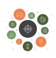 Social media marketing infographic 10 steps bubble vector