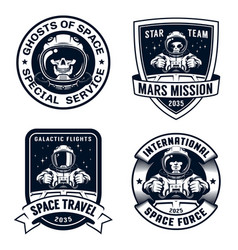 Space badge set with spaceship pilot and alien vector