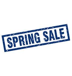 Square grunge blue spring sale stamp vector