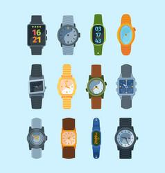 stylish wristwatch set modern watches fashionable vector image