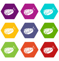 sushi lunch icons set 9 vector image
