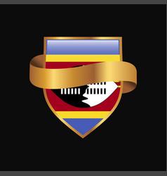 Swaziland flag golden badge design vector