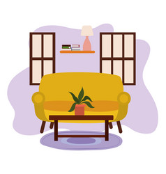 table with potted plant shelf lamp and windows vector image