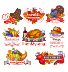 Thanksgiving day greeting sketch icons vector