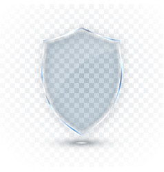 transparent glass shield glass badge icon vector image