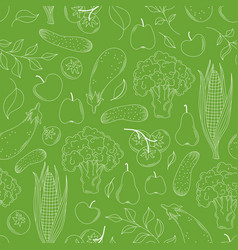 Vegetables and fruits linear greens seamless vector