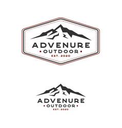 vintage hand drawn retro mountain logo design vector image