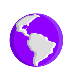 violet planet earth icon vector image