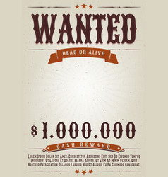 wanted western movie poster vector image