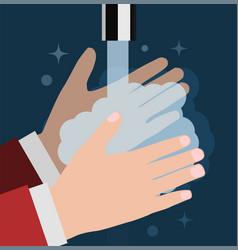 wash your hand flat on dark vector image