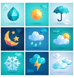 Weather hipster icons vector