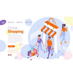Web page template for online shopping vector