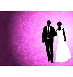 wedding couple on the abstract background vector image