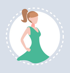 woman akimbo dress round frame gray background vector image