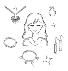 Woman fashion with jewelry and gold vector image