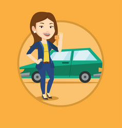 Woman holding keys to her new car vector