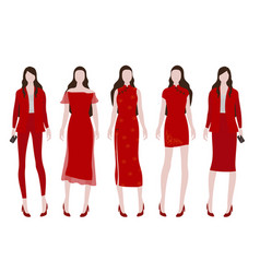 woman in red costume for chinese new year vector image