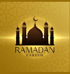 beautiful ramadan kareem background with mosque vector image vector image