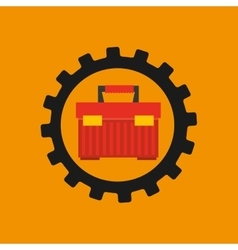 Gear construction tool box red vector