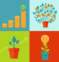 growth concepts in flat style vector image vector image