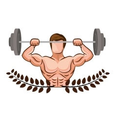 Ornament leaves with muscle man lifting a disc vector