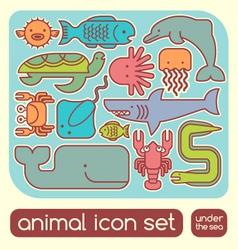 sea animals set vector image vector image