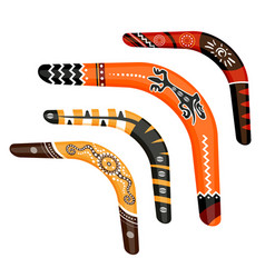 set of painted traditional australian boomerang vector image