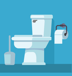 toilet bowl and toilet paper vector image vector image