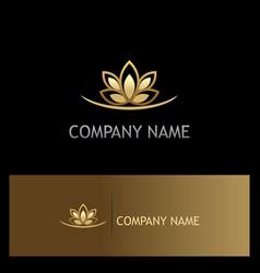 gold lotus flower logo vector image