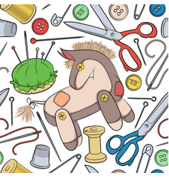 pattern with sewing accessories and toy donkey vector image vector image