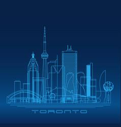 toronto skyline detailed silhouette vector image