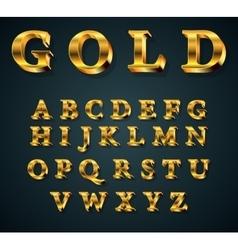 golden 3D alphabet vector image vector image