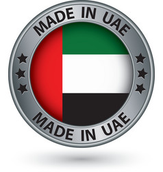 Made in UAE silver label with flag vector image vector image