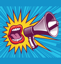 girl mouth with megaphone in vector image vector image