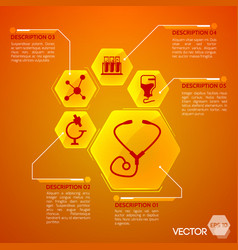 Medicine and health orange poster vector