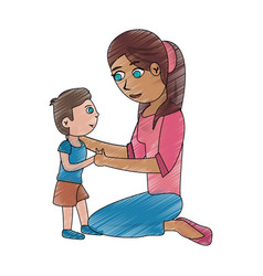 mom and son cartoon vector image