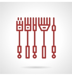 Red line icon for tattoo needles kit vector image