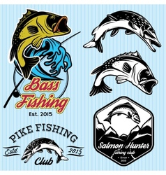 set of patterns with emblems for fishing with pike vector image vector image