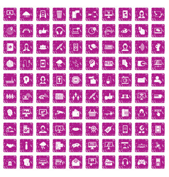 100 contact us icons set grunge pink vector